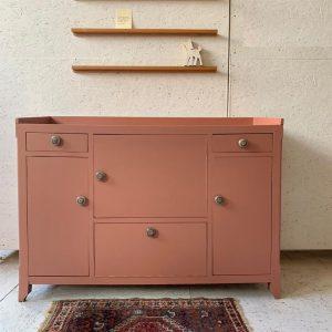 Vintage grote roze commode H 87 x B 131 x D 50